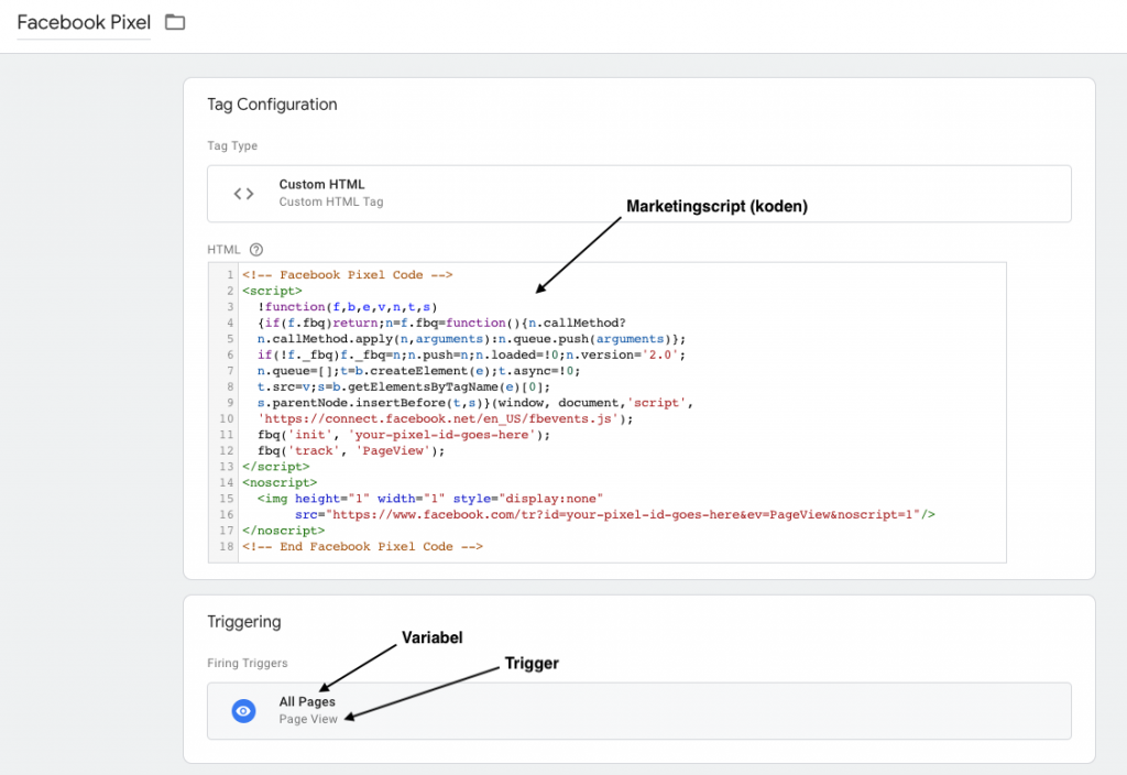 Google Tag Manager Facebook Tag